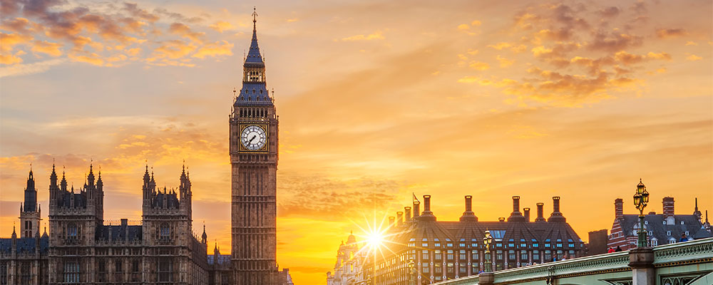Westminster palace against a sunset or sunrise