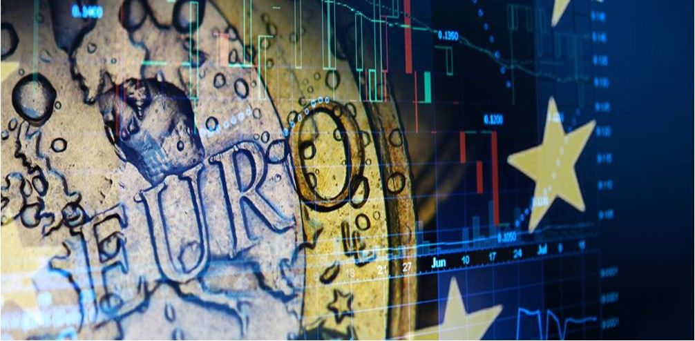 One Euro coin behind graphs - Rathbone Investment Management