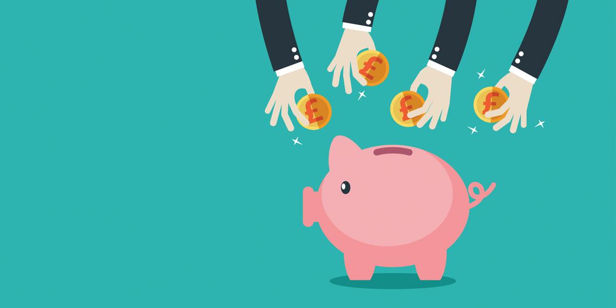 Cartoon of hands placing coins into a piggy bank