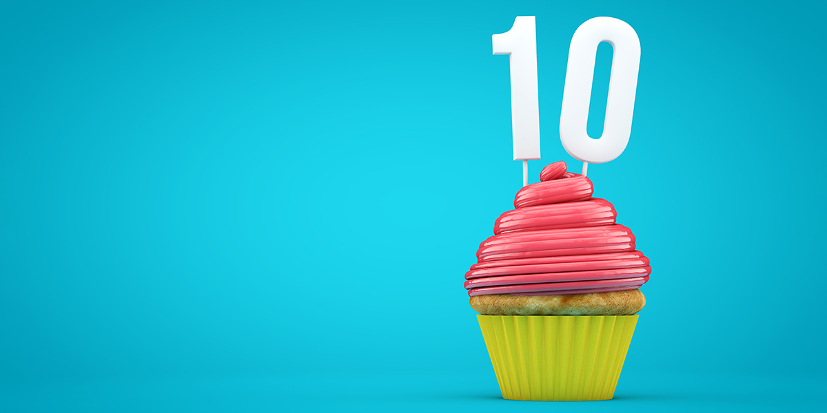 Cupcake with 10 years candle