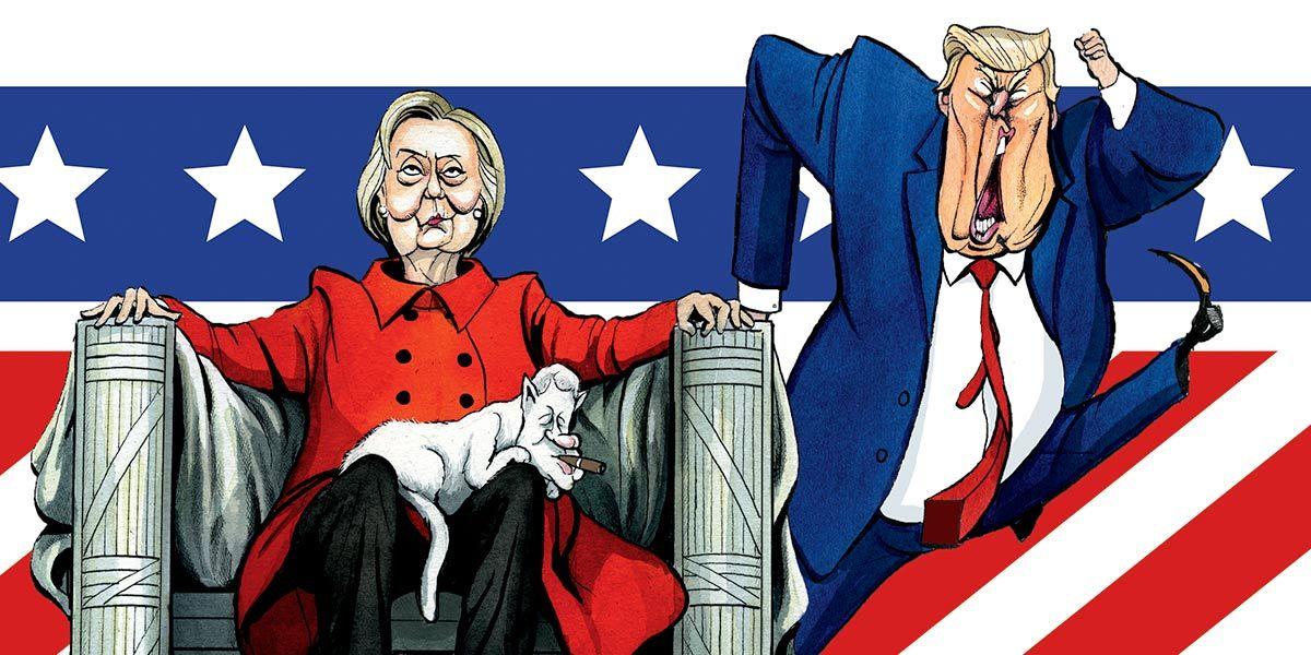 Cartoon of Hillary Clinton and Donald Trump
