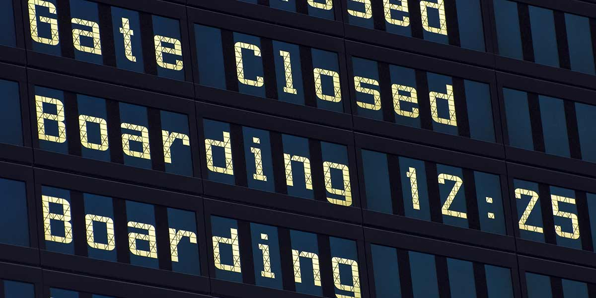 Airport boarding sign