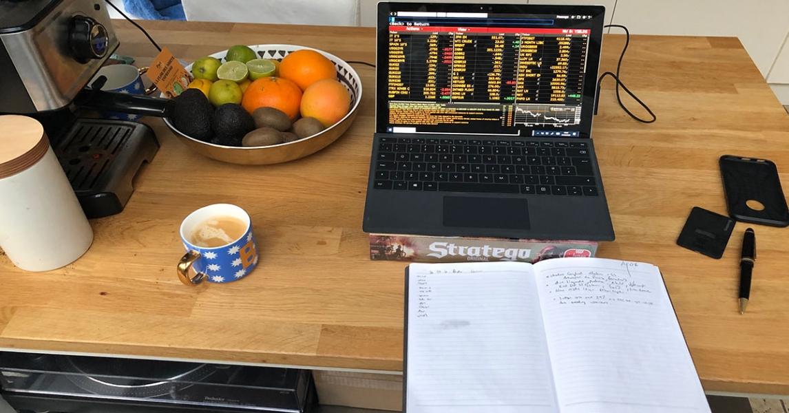 Kitchen worktop with laptop