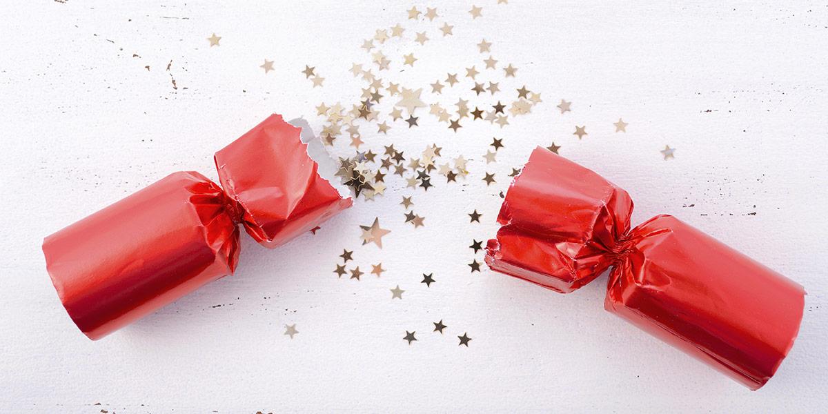 Broken christmas cracker with stars