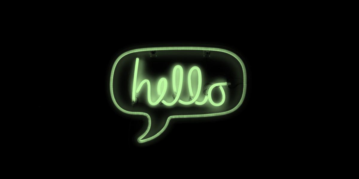 Hello speech bubble in neon green