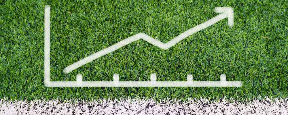 A graph drawn onto football pitch turf
