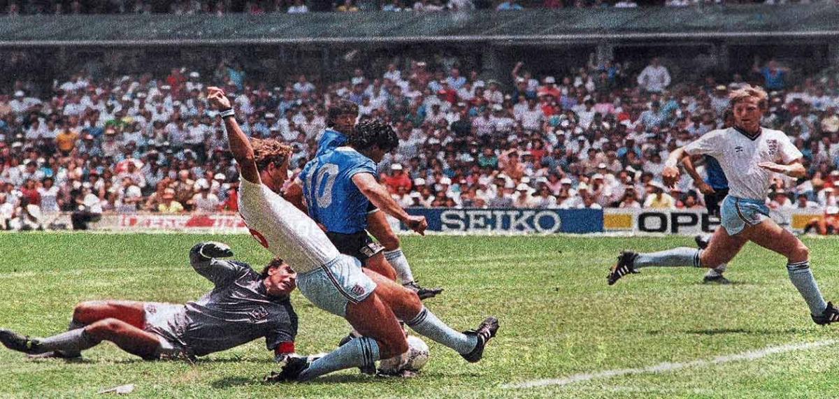 Maradona on the football pitch