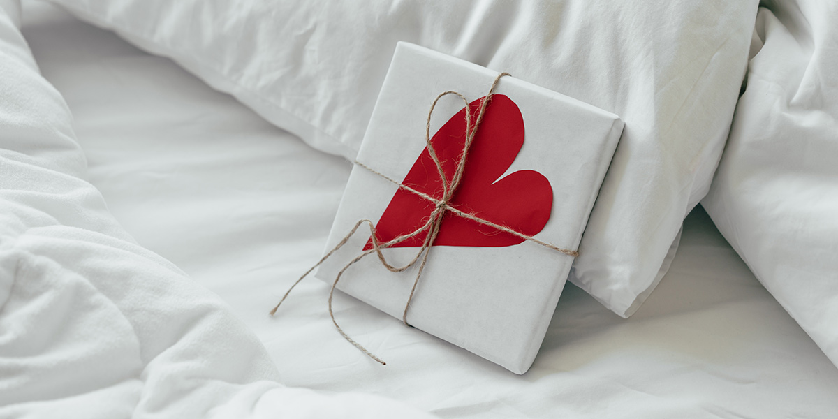 Heart frame on a bed
