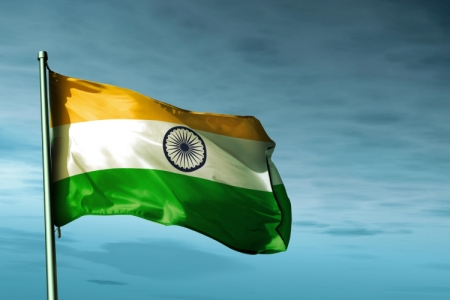 Indian flag fluttering in a breeze