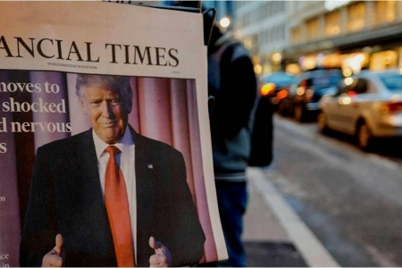 Image of Donald Trump on the cover of the Financial Times newspaper