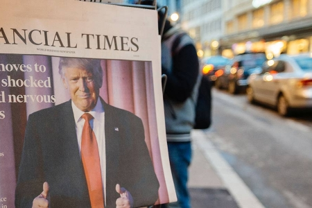 Financial Time paper with Donald Trump on the cover - Rathbone Investment Management