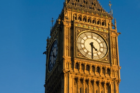 Big Ben against a blue sky