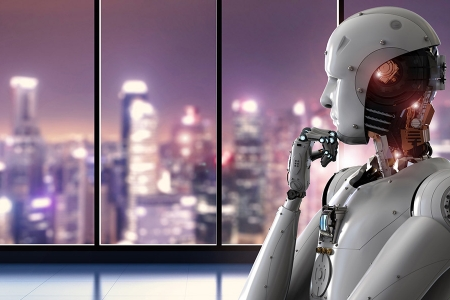 Robot looking out of the window