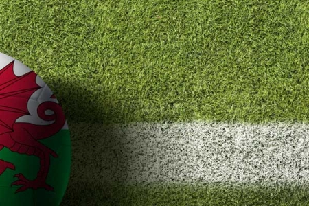 A ball with the Welsh flag on, at the side of a football pitch