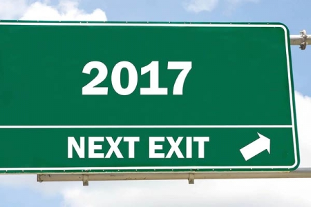 Road sign with an exit for 2017 on