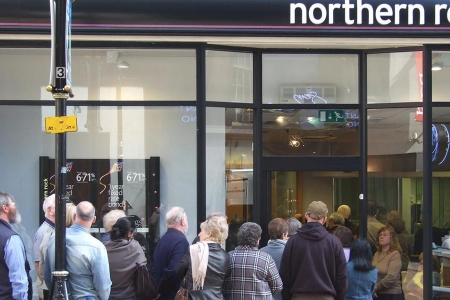 People queuing outside northern rock bank in 2008