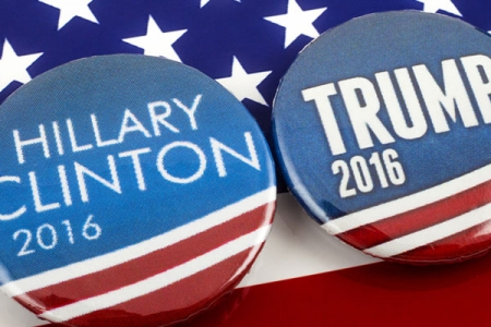 Hillary Clinton and Donald Trump's election campaign buttons